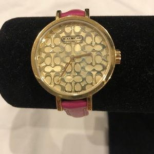 Coach pink and gold watch thin leather band